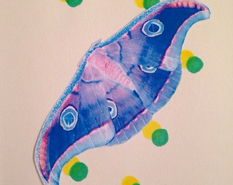 Blue and Pink Moth Sticker