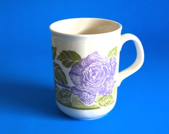 Kilncraft Purple Roses Flowers Mugs - Vintage Kiln Craft Flower Floral Spring Coffee Cup - Made in England