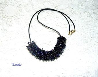 "Necklace (Pendant) of beads ""SPACE"". Necklace ""space"". Кулон из бисера ""Космос""."