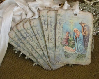 Christmas Tags Vintage Images of Nativity-Set of 9