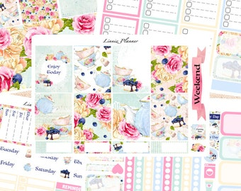 Tea Party Weekly Kit or Al a Carte (matte planner sticker, fits perfect in Erin Condren Life Planner Vertical)