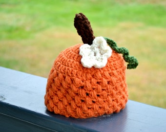 Pumpkin Hats - Newborn Pumpkin Hat Photo Prop - Fall Pumpkin Hats - Halloween Baby Hat - My first Thanksgiving Hat - Crocheted Pumpkin Hat