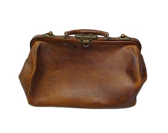 1920s Leather Doctors Bag Valise