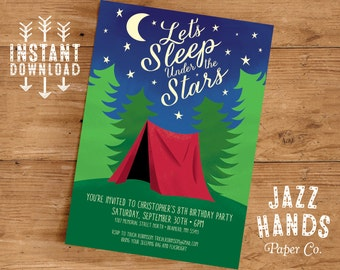 Camping Birthday Invitation Template | DIY Printable | Camping Party Invitation | Campout Birthday Party | Instant Download