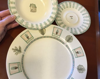 Pfaltzgraff Naturewood Pattern Dinner Plate, Saucer, and Soup/Cereal Bowl