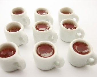 Dollhouse Miniature Drink Beverage White 45 Tea Mug Cup Ceramic Size S Charms Supply - 13451
