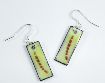 Sterling Silver Copper Earrings Metal Enamel Earrings Yellow and Brown Earrings