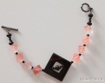 Black Onyx and Pink Gemstone Bracelet