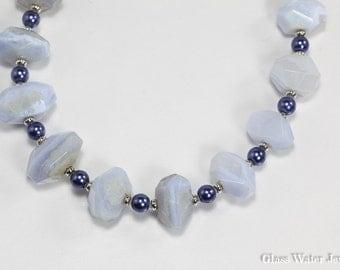 Blue Lace Agate Necklace, Gemstone Necklace