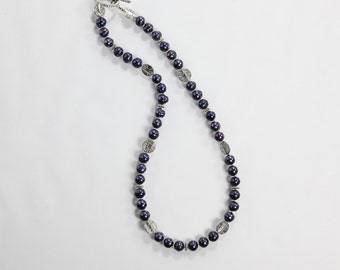 Blue Freshwater Pearl Necklace, Pewter and Pearl Necklace, Pearl Necklace, Silver & Blue Pearl Necklace