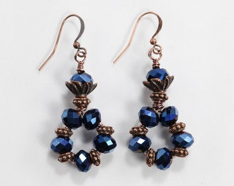 Crystal & Copper Earrings, Blue and Copper Earrings