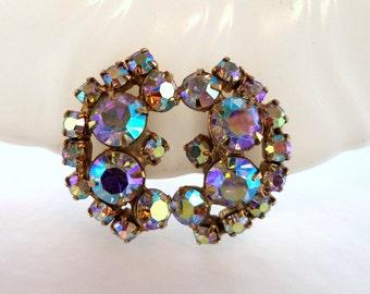 Large Crescent AB Rhinestone Clip Earrings