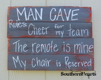 Man Cave Rules Sign / Reclaimed Wood