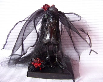 Black Crow Bride ; Gothic/Weird /Taxidermy/Halloween/ Wedding