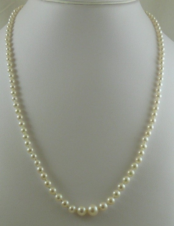 Freshwater White 3mm - 7mm Pearl Necklace 14k White Gold 21""