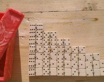 Phenolic Dominoes Set, French, Red and Cream