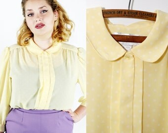 SALE Vintage 1980s Jospehine Yellow Polka Dot Blouse / large xlarge