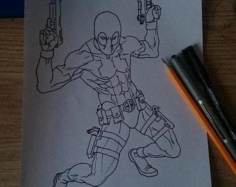 Deadpool Framed Drawing