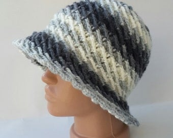 Knitted Hat, Crochet Hat, Grey Hand Knit hat, Colored Hat, Winter wool Hat, Stylish hat, Hand Knit hat, Womens winter hats, Grey Crochet Hat