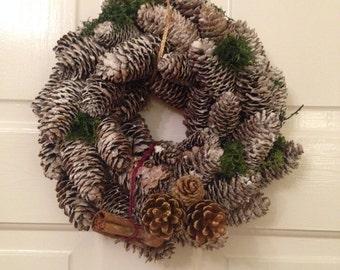 Handmade pinecone wreath