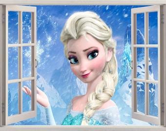 Elsa 3D Window Wall Sticker, Elsa Wall Decal,