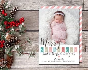 BABY ANNOUNCEMENT CHRISTMAS Card | New Baby Christmas Card | Christmas Photo Card