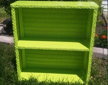 Upcycled wicker wall shelf two tiered in bright lime green-shabby chic/cottage chic/kitsch/childrens room/bathroom shelf/beach house