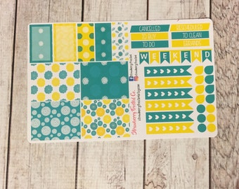 Lemon and Teal Floral Themed Planner Stickers- Made to fit Vertical Layout