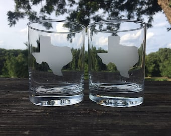 Texas etched low ball glasses
