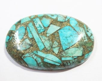 BIG oval 36mm Reconstructed Arizona COPPER TURQUOISE Stone Cabochon palm stone Healing crystals chakra reiki stone metaphysical jewelry gems