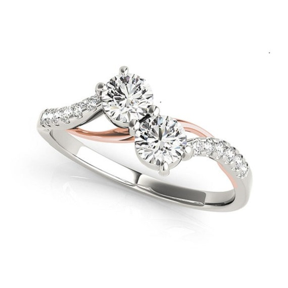 Two Stone Diamond Ring Rose Gold And White Gold Diamond