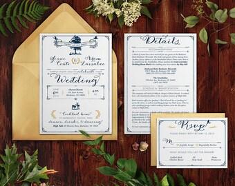 PRINTABLE Romantic Rustic Wedding Invitation, DIGITAL Rustic Wedding Invitation, Rustic Woodland Wedding Invitation Set