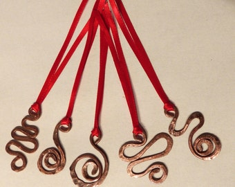 5 Solid copper scroll hanging decorations
