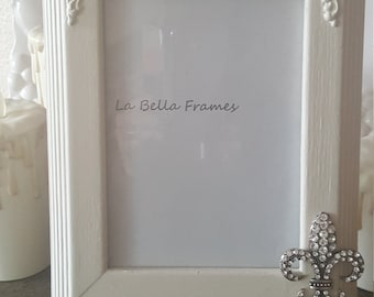 Painted Picture Frame Cottage white 5 by 7 Rhinestone Fleur de Lis Wedding Nursery Frame