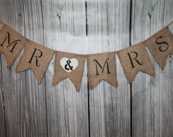 MR & MRS ~ Engagement Wedding Banner ~ Burlap Shower Decoration Photo Prop BUNTING