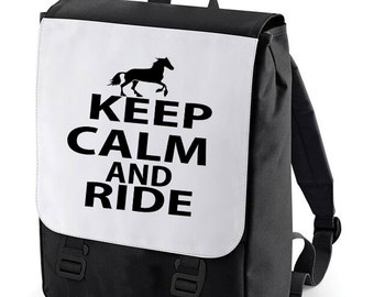 Keep Calm and ride Backpack Bag perfect for school (Bagbase)