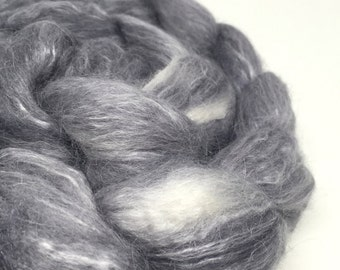alpaca seacell silk hand dyed roving, spinning fibre - Old Photograph - grey, white 100g