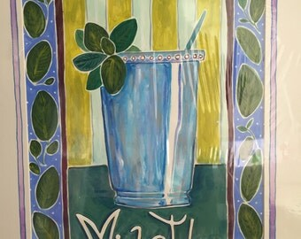"Mint Julep Original Gouache Painting 12"" x 18"""