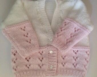 Girls white & pink newborn cardigan, 0-3m, hand knitted