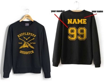 CAPTAIN - Custom name and number on back Hufflepuff Quidditch team Captain YELLOW front Black Crew neck Sweatshirt
