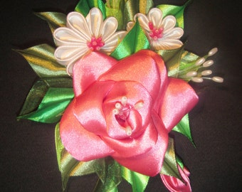 Handmade kanzashi flower 2-in-1 brooch-hairclip