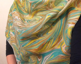 silk scarf, hand marbled by me