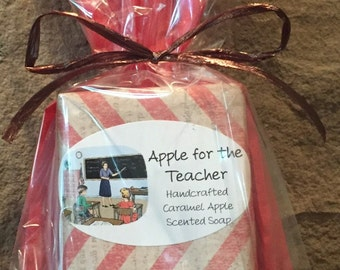 Caramel Apple Scented Hot Processed Handcrafted Soap, Teacher gift, Teacher soap, Vegan soap, Apple Soap, Apple for the Teacher, Caramel