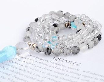 Blue Mala - Quartz Mala - Mala Beads - 108 Mala - Yoga Mala - Meditation Beads - Affirmation counter - Gemstone Mala - Prayer Beads - Mala