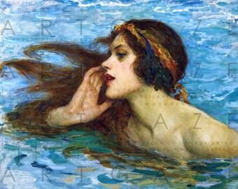 The Mermaid's Call. STUNNING Vintage Mermaid Illustration. Mermaid's Song Art Nouveau Print. Digital Mermaid Download.