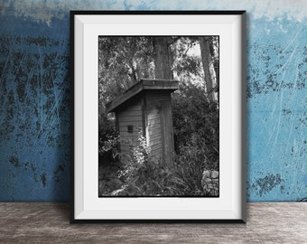Framed Bathroom Wall Art - Vintage Outhouse Photo - Modern Farmhouse Decor - Funny Bathroom Art - Powder Room Framed Art