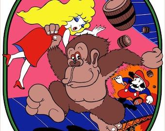Donkey Kong Arcade Side Art Poster Print