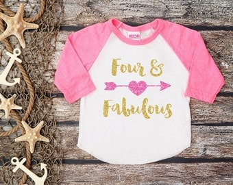 Four And Fabulous Shirt;Gold Glitter Shirt;Fourth Birthday Shirt;Girl's Fourth Birthday;Girl's Baseball Shirt;4th Birthday Shirt Kid's;