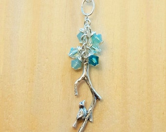 Crystal bead and branch with bird silver necklace