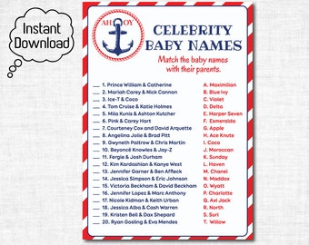 Celebrity Baby Name Game Printable, Nautical Celebrity Match Game, Nautical Baby Shower Games, Celebrity Baby Name Guessing